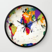 map Wall Clocks featuring map by mark ashkenazi