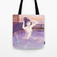 kitsune Tote Bags featuring Kitsune by Katie Badenhorst