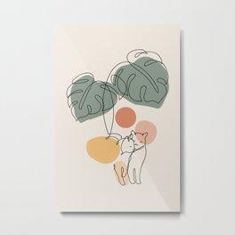 Cat and Plant 36 Metal Print