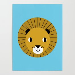 Lion face cute decor for kids boys and girls nursery kids room Poster