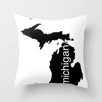 michigan Throw Pillows featuring Michigan by Isabel Moreno-Garcia
