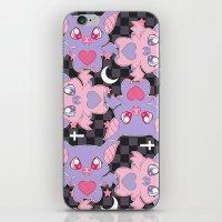 pastel goth iPhone & iPod Skins featuring Batty, The Stars Shine Bright (Pastel Goth Lolita Print) by display