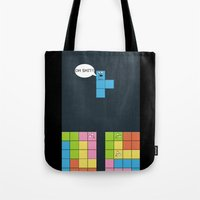 tetris Tote Bags featuring Tetris by sEndro