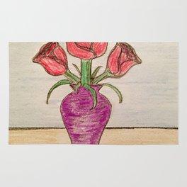 Three roses In a vase Rug