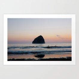 Sunset Surfers - Oregon Coast Art Print