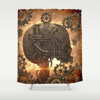 steampunk Shower Curtains featuring Steampunk, skull by nicky2342
