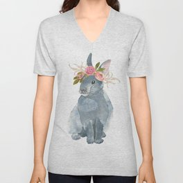 bunny with flower crown Unisex V-Neck
