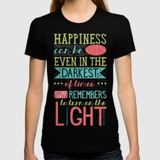 Happiness Black Womens Fitted Tee SMALL