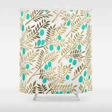 Gold & Turquoise Olive Branches Shower Curtain