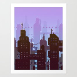 Future night skyline Art Print