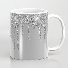 Gray & Silver Glitter Drips Coffee Mug