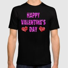 Happy Valentine's Day Metal Pink and Red Letters Mens Fitted Tee Black MEDIUM
