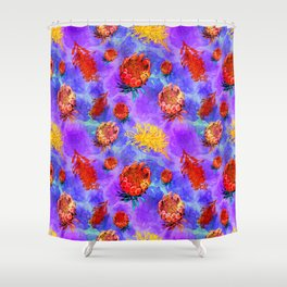 Colourful Australian Native Floral Print Shower Curtain
