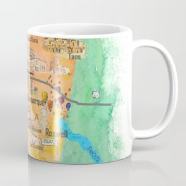 USA New Mexico State Illustrated Travel Poster Favorite Map Coffee Mug
