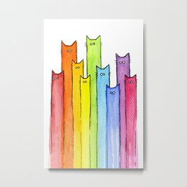 Nursery-Art-Print-Cat-Rainbow-Whimsical-Animals Metal Print