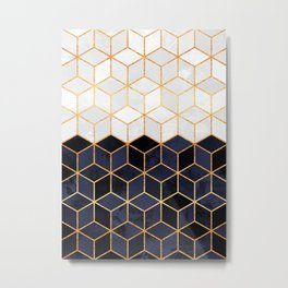 White & Navy Cubes Metal Print