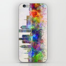 Detroit skyline in watercolor background iPhone Skin