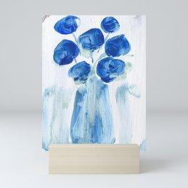 Blue Flowers in Vase (Left Side of Set) Mini Art Print