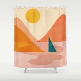 Abstraction_Lake_Sunset Shower Curtain
