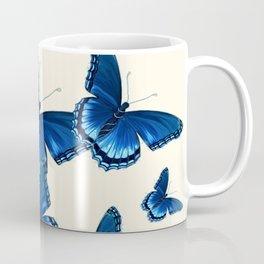 DECORATIVE PATTERNED BLUE  BUTTERFLY FLOCK Coffee Mug
