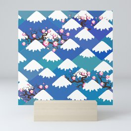 Spring Nature background with Japanese cherry blossoms, sakura pink flowers landscape. blue mountain Mini Art Print