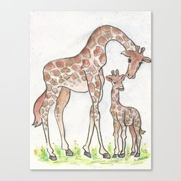Giraffe and Her Calf Canvas Print