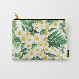 Textured Vintage Daisy and Fern Pattern  Carry-All Pouch