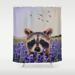 Racoon with lavender Shower Curtain