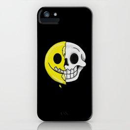 Smiling Emoticon Skull Halloween iPhone Case