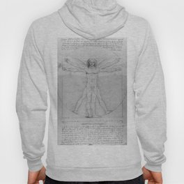 Leonardo da Vinci Vitruvian Man with Wings Study of Angels Hoody