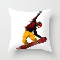 snowboarding Throw Pillows featuring Snowboarding by Boehm Graphics