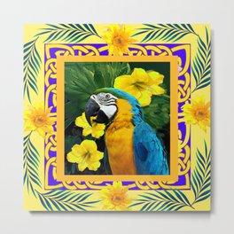 Yellow Tropical Blue & Gold Macaw Parrot Design Metal Print