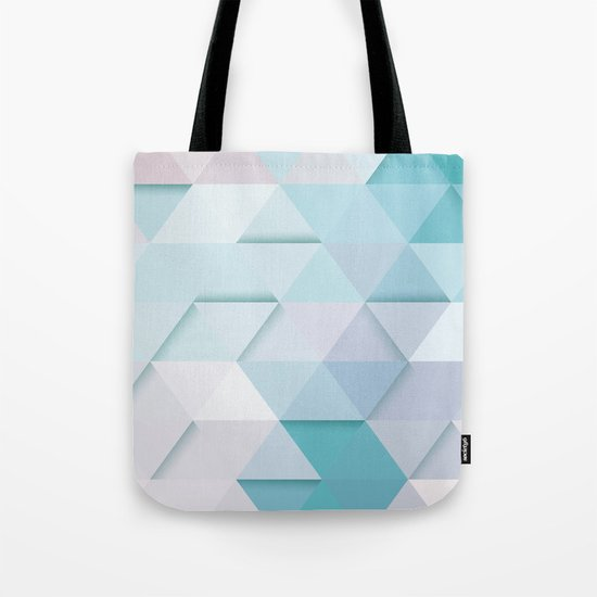 Pale Mint Blue Triangles Tote Bag