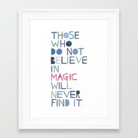 roald dahl Framed Art Prints featuring Believe in magic... by Madi