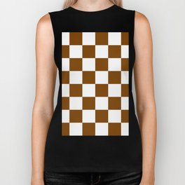 Large Checkered - White and Chocolate Brown Biker Tank
