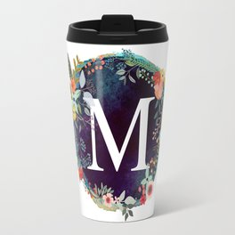 Personalized Monogram Initial Letter M Floral Wreath Artwork Travel Mug