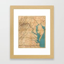 Vintage Map of Virginia and The Chesapeake Bay (1862) Framed Art Print