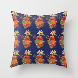 Fruits and Flowers Throw Pillow