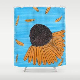 Mexican Yellow Big Headed Flower Cabezona Shower Curtain
