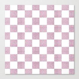 Elegant pink glitter chevron checkers pattern Canvas Print