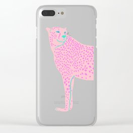 PINK STAR CHEETAH Clear iPhone Case