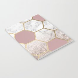 Cherished aspirations rose gold marble Notebook