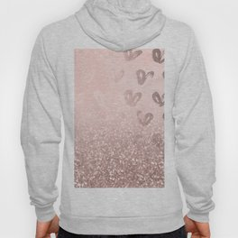 Rose Gold Sparkles on Pretty Blush Pink with Hearts Hoody