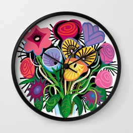 Yelapa Flowers Wall Clock