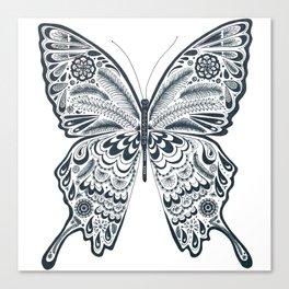 Blue Butterfly Mandala Canvas Print