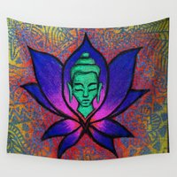 namaste Wall Tapestries featuring Namaste. by Gabrielle Wall