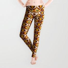 Retro 70s ovals op-art pattern brown, orange Leggings
