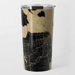 San Francisco California Black and Gold Map Travel Mug