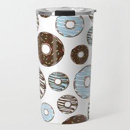 Pattern Of Donuts, Sprinkles, Icing - Blue Brown Travel Mug