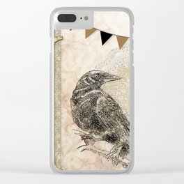 Crow, Brown Banner, Doily, Digital Design Clear iPhone Case